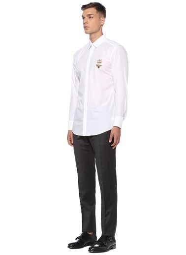 Dolce&Gabbana Dolce&Gabbana  Polo Yaka Taç Patchli Gömlek 101556805 Beyaz